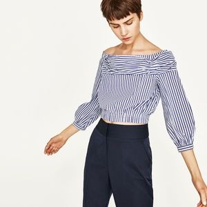 Zara Off the Shoulder Striped Poplin Crop Top Sz M